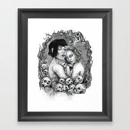 Skull Nouveau Babes Framed Art Print