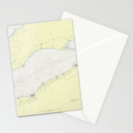 Vintage Map of Lake Erie (1955) Stationery Cards