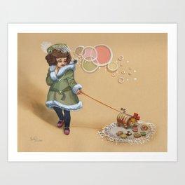 Pretty Cookie Cat Stroll Art Print