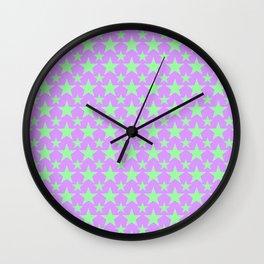 Green Star Pattern on Purple Wall Clock