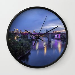 Illuminated Minneapolis and Mississippi River Birdges during a Summer Twilight Wall Clock