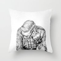 tom selleck Throw Pillows featuring tom by Anna Gibson