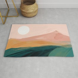 pink, green, gold moon watercolor mountains Rug