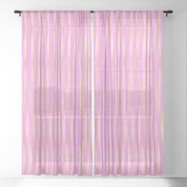 Fuzzy Pink Vertical Stripe Pattern Sheer Curtain