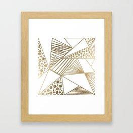 Elegant faux gold geometric stripes polka dots pattern Framed Art Print