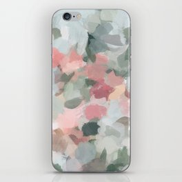 Blue Sage Green Coral Pink Tropical Flowers in the Wind Abstract Nature Ocean Painting Art Print Wall Decor  iPhone Skin