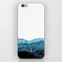 Powerlines in Japan - minimalist mountains iPhone Skin