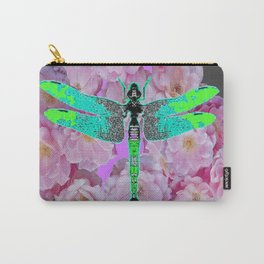 GREY COLOR EMERALD DRAGONFLY PINK ROSES Carry-All Pouch