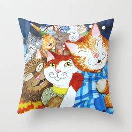 Conga Kitties Throw Pillow