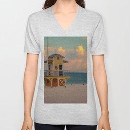 Clearwater Beach Florida Lifeguard Hut Ocean Blue Sunrise Print Unisex V-Neck