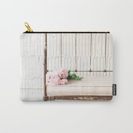 Farmhouse Antique Bench With Peonies Photograph Carry-All Pouch
