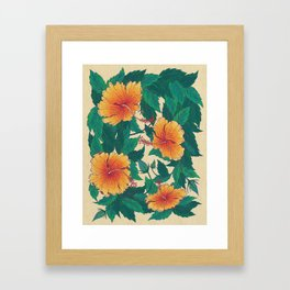 Orange Hibiscus Flowers Framed Art Print