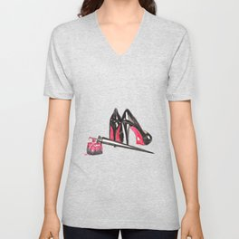 High Heels and nail polish art Unisex V-Neck