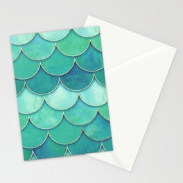 Abstract Fish Pattern Green Stationery Cards