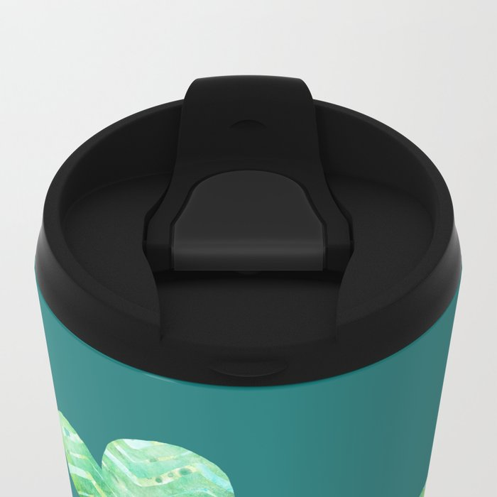Sweet Turtle Hugs with Heart in Teal and Lime Green Metal Travel Mug