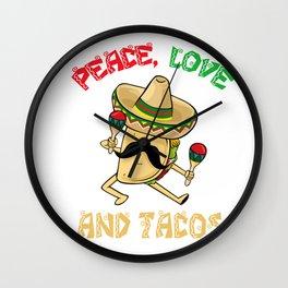 Peace Love Tacos - Cinco De Mayo Wall Clock