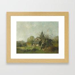 Eugene Galien-Laloue , La basse cour pres de la petite chapelle Framed Art Print