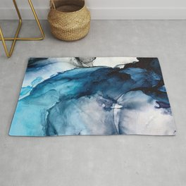 White Sand Blue Sea - Alcohol Ink Painting Rug
