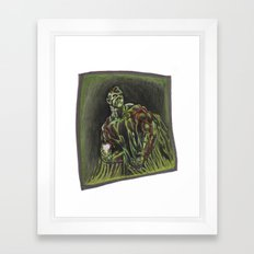 Swamp Thing on a lunch break Framed Art Print