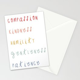 Colossians 3:12 Put on Compassion Kindness Bible Verse Art For Kids Boho Rainbow  Stationery Cards