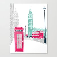 london Canvas Prints featuring London  by bluebutton studio