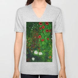 Red Sunflowers, Anemones & Red Poppies and Floral Farm Garden by Gustav Klimt Unisex V-Neck