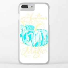 """Autumn Magic"" Turquoise Pumpkins Clear iPhone Case"