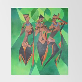Three Ethnic Traditional Black Women Dancing Throw Blanket