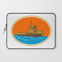 Tugboat Tug Towboat Woodcut Laptop Sleeve