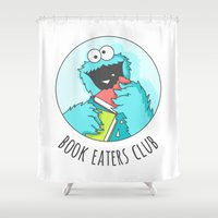 cookie monster Shower Curtains featuring Book Monster by Sombras Blancas Art & Design