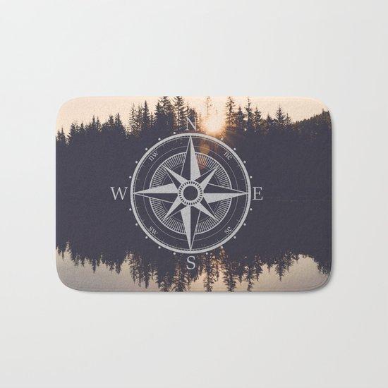 Wooded Lake Reflection Compass Bath Mat