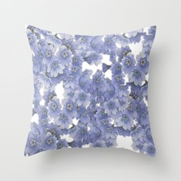 Pale blue on white floral Throw Pillow