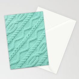 Seafoam Mint Cableknit Stationery Cards