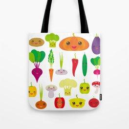 Kawaii vegetables peppers, pumpkin beets carrots, eggplant, red hot peppers, cauliflower, broccoli Tote Bag