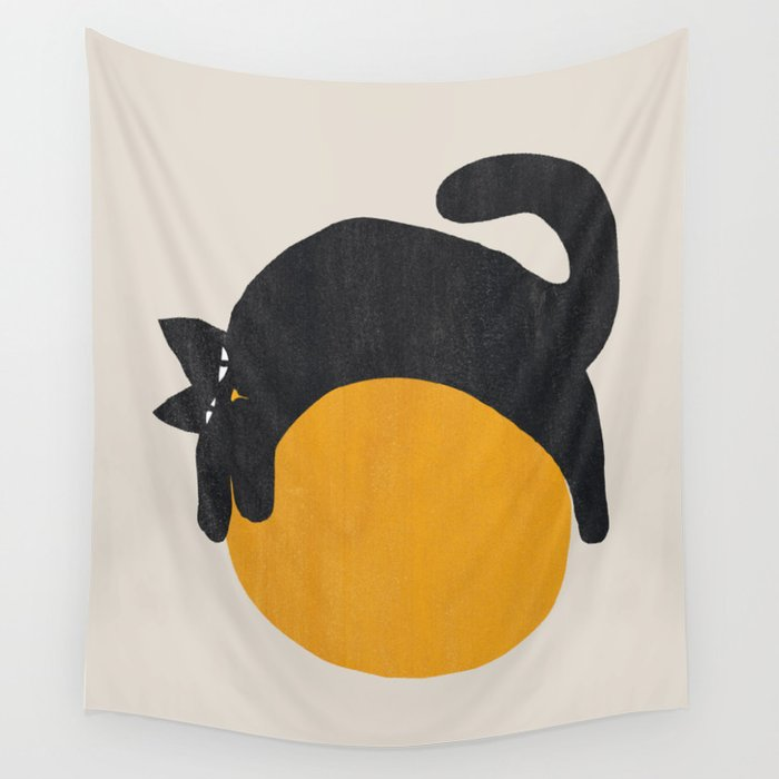 cat on the sun wall tapestry for dorm room