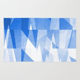 Abstract Blue Geometric Mountains Design Rug
