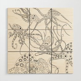 Consortium of Octopi BW Wood Wall Art