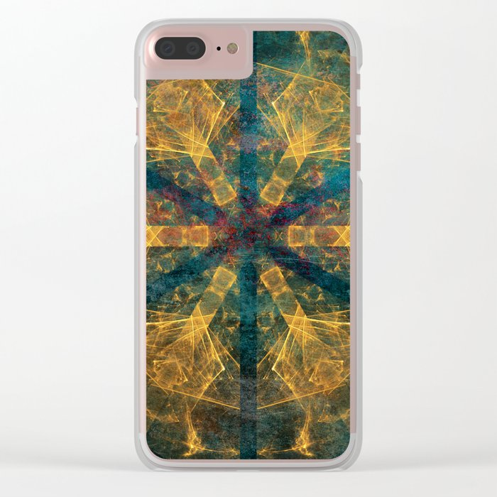 Tribal mandala in blue and gold Clear iPhone Case
