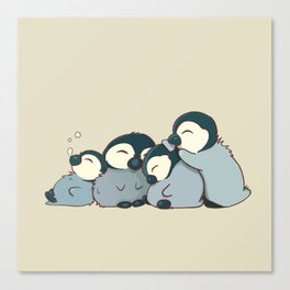 Pile of penguins Canvas Print