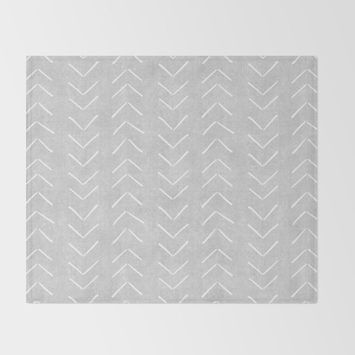 Mudcloth Big Arrows in Grey Throw Blanket