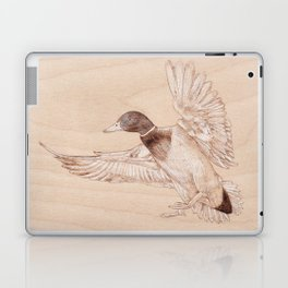 Duck Portrait - Drawing by Burning on Wood - Pyrography Art Laptop & iPad Skin