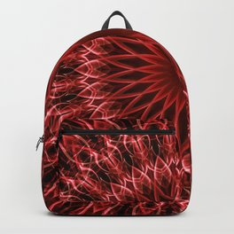 Detailed mandala in dark and light red tones Backpack