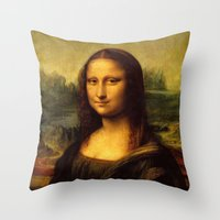 mona lisa Throw Pillows featuring Mona Lisa by Color and Patterns