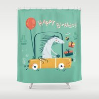 happy birthday Shower Curtains featuring Happy birthday! by Villie Karabatzia