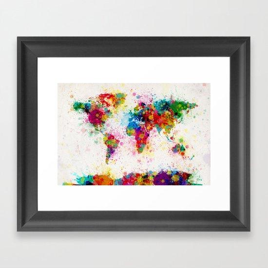 Map of the World Map Paint Splashes Framed Art Print