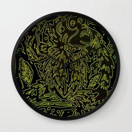 Glowing monkey, digital lino print Wall Clock