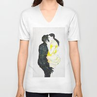 kiss V-neck T-shirts featuring KISS by SEVENTRAPS