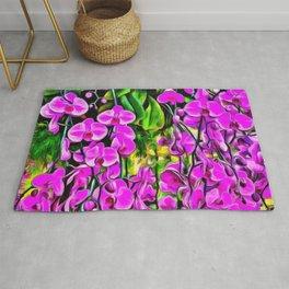 Purple Painterly Orchid Vines Rug