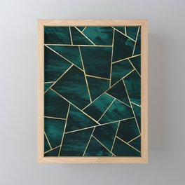 Dark Teal Ink Gold Geometric Glam #1 #geo #decor #art #society6 Framed Mini Art Print