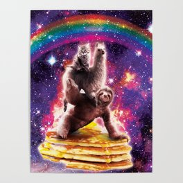 Space Cat Llama Sloth Riding Pancakes Poster
